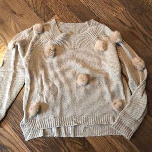 Sweaters - Real fur pom pom sweater taupe size small